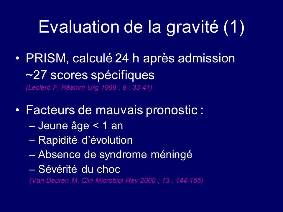 Evaluation de la gravité (1) PRISM, calculé 24 h après admission ~27 scores spécifiques (Leclerc F, Réanim Urg 1999 ; 8 : 33-41) Facteurs de mauvais p