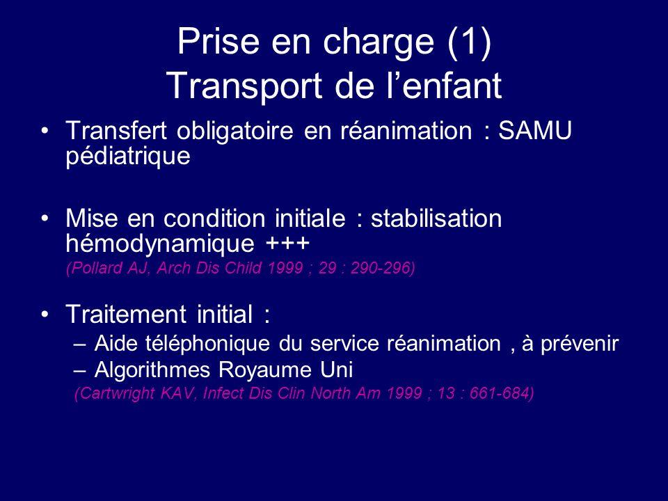Prise en charge (1) Transport de lenfant Transfert obligatoire en réanimation : SAMU pédiatrique Mise en condition initiale : stabilisation hémodynami