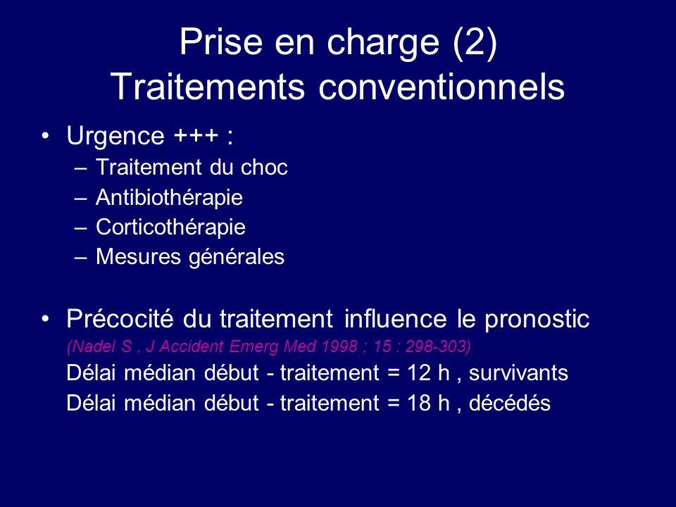 Prise en charge (2) Traitements conventionnels Urgence +++ : –Traitement du choc –Antibiothérapie –Corticothérapie –Mesures générales Précocité du tra