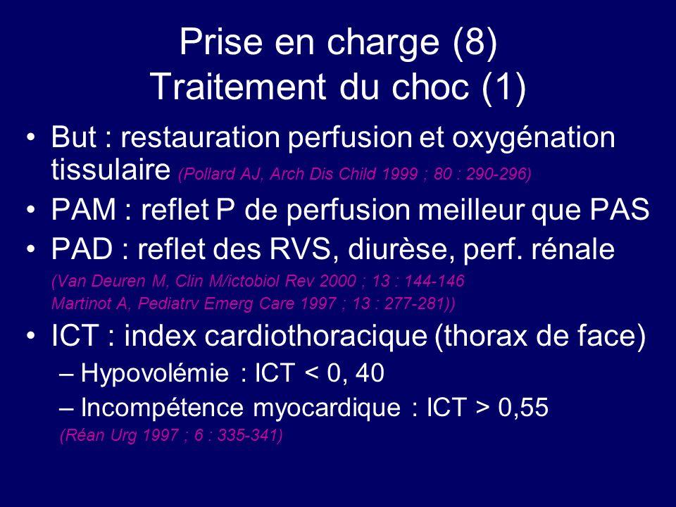 Prise en charge (8) Traitement du choc (1) But : restauration perfusion et oxygénation tissulaire (Pollard AJ, Arch Dis Child 1999 ; 80 : 290-296) PAM