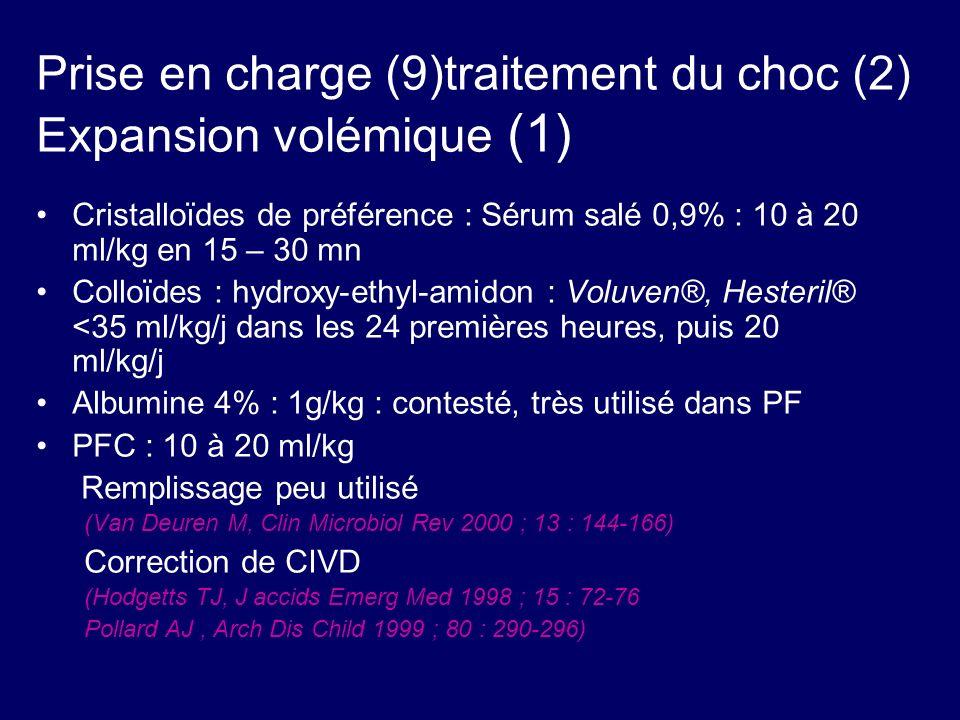 Prise en charge (9)traitement du choc (2) Expansion volémique (1) Cristalloïdes de préférence : Sérum salé 0,9% : 10 à 20 ml/kg en 15 – 30 mn Colloïde
