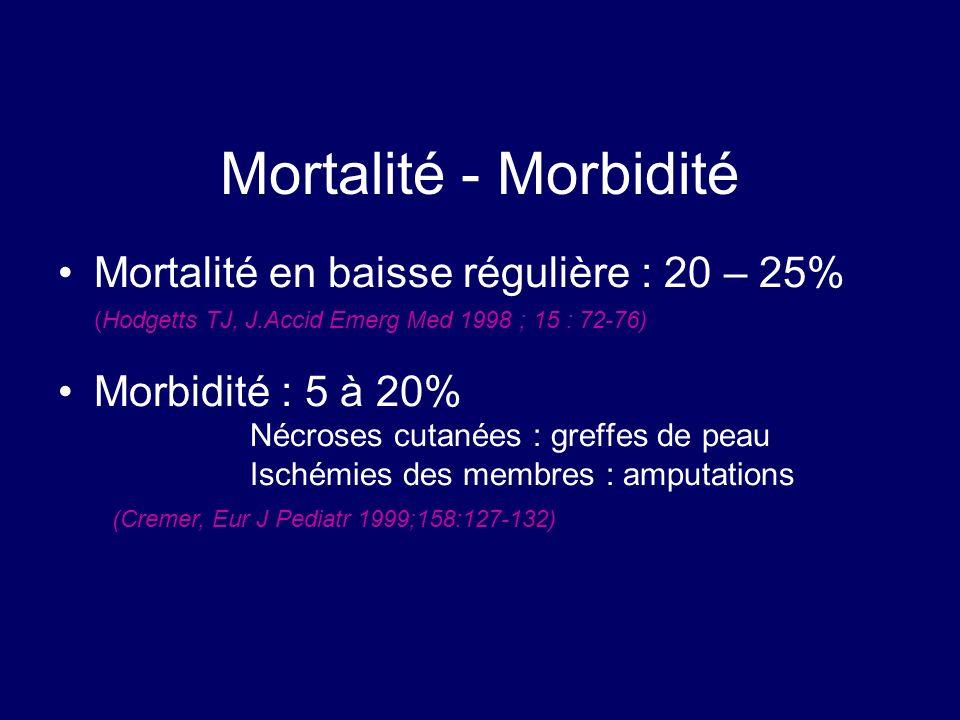 Mortalité - Morbidité Mortalité en baisse régulière : 20 – 25% (Hodgetts TJ, J.Accid Emerg Med 1998 ; 15 : 72-76) Morbidité : 5 à 20% Nécroses cutanée