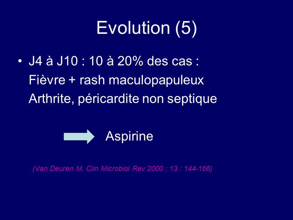 Evolution (5) J4 à J10 : 10 à 20% des cas : Fièvre + rash maculopapuleux Arthrite, péricardite non septique Aspirine (Van Deuren M, Clin Microbiol Rev