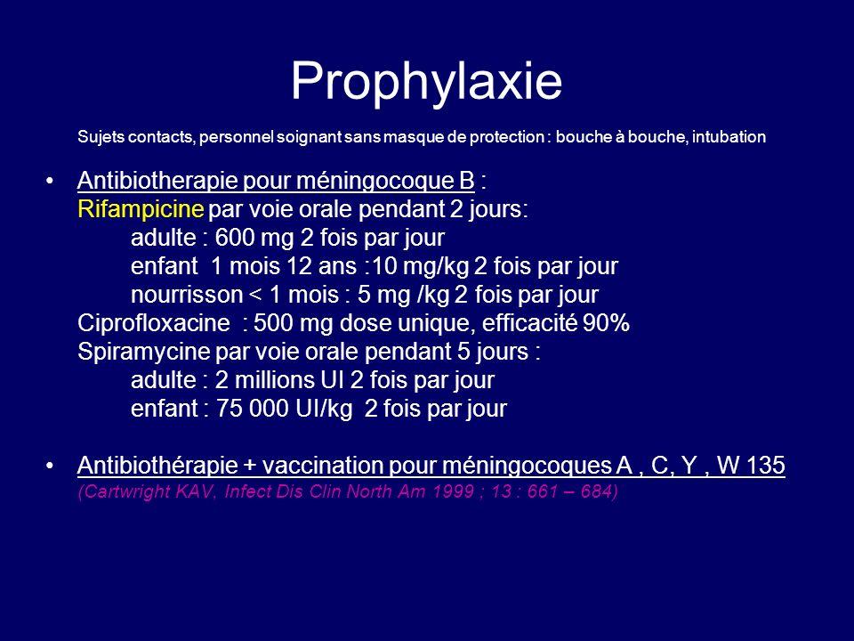 Prophylaxie Sujets contacts, personnel soignant sans masque de protection : bouche à bouche, intubation Antibiotherapie pour méningocoque B : Rifampic