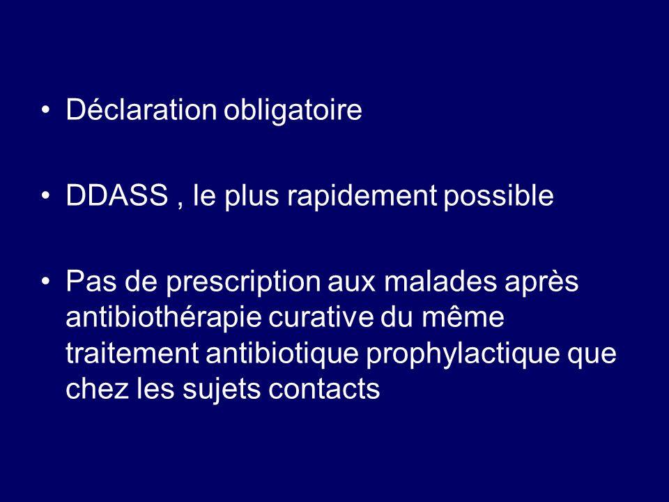 Déclaration obligatoire DDASS, le plus rapidement possible Pas de prescription aux malades après antibiothérapie curative du même traitement antibioti