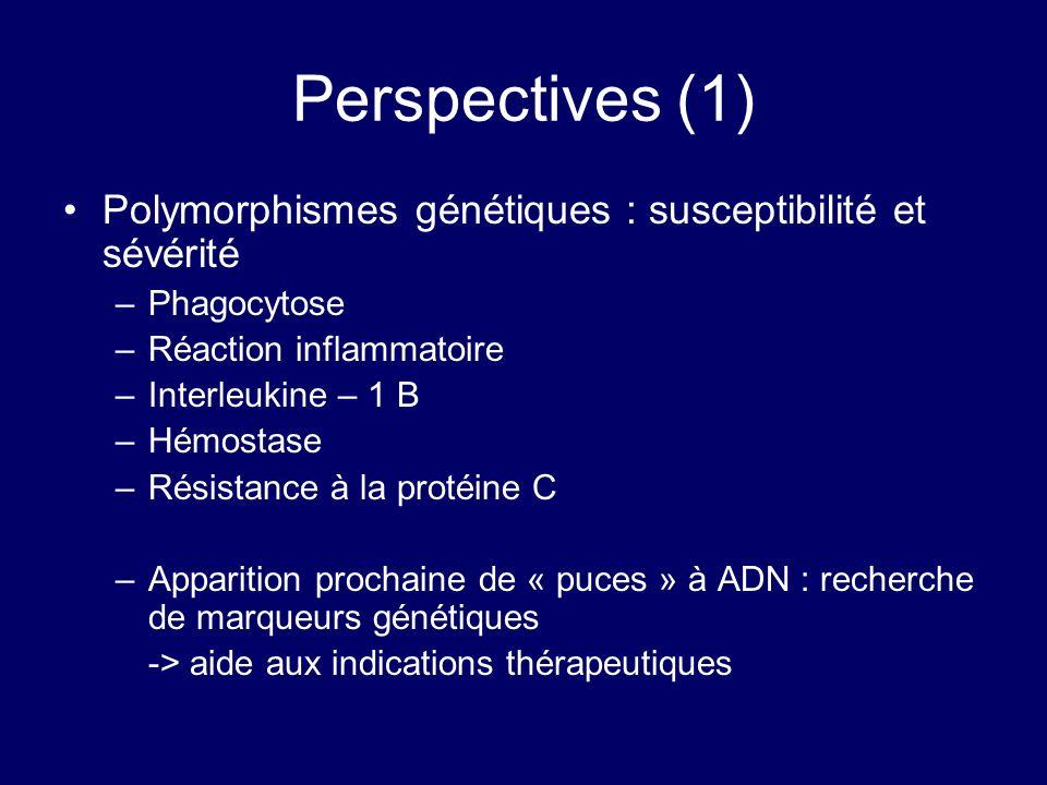 Perspectives (1) Polymorphismes génétiques : susceptibilité et sévérité –Phagocytose –Réaction inflammatoire –Interleukine – 1 B –Hémostase –Résistanc