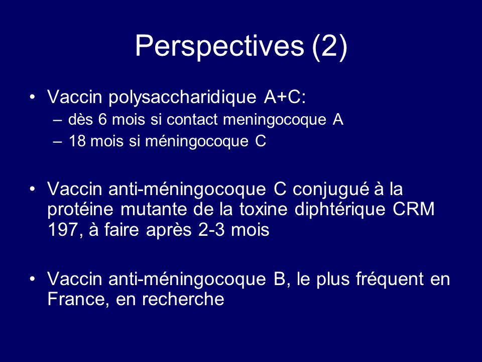 Perspectives (2) Vaccin polysaccharidique A+C: –dès 6 mois si contact meningocoque A –18 mois si méningocoque C Vaccin anti-méningocoque C conjugué à