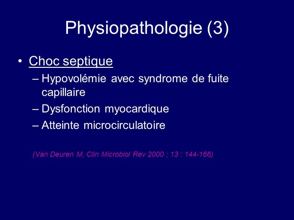 Physiopathologie (3) Choc septique –Hypovolémie avec syndrome de fuite capillaire –Dysfonction myocardique –Atteinte microcirculatoire (Van Deuren M,