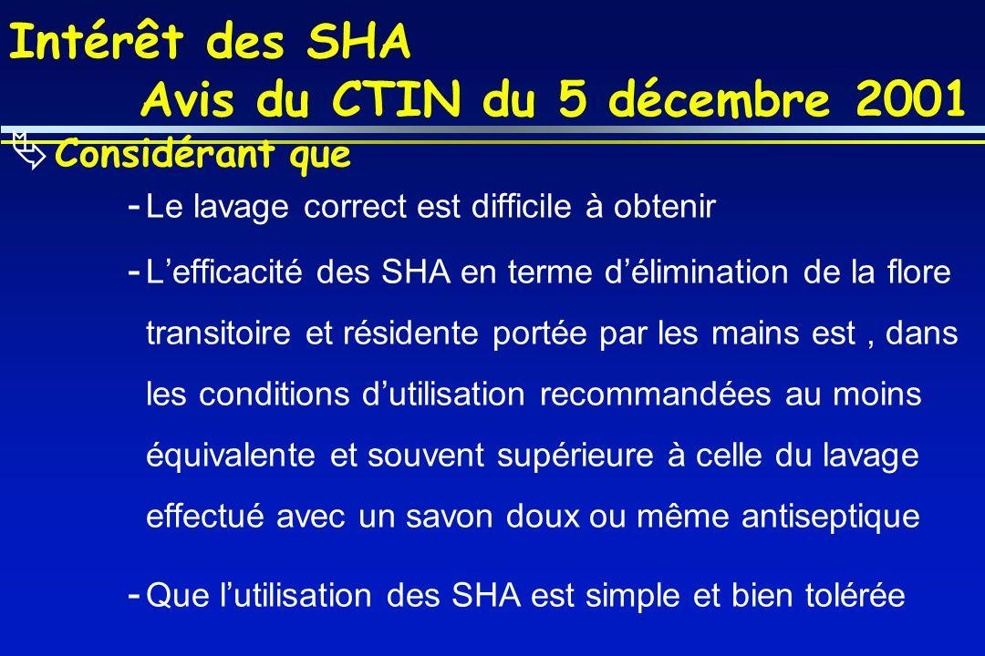 Intérêt des SHA Avis du CTIN du 5 décembre 2001 Considérant que - Le lavage correct est difficile à obtenir - Lefficacité des SHA en terme déliminatio