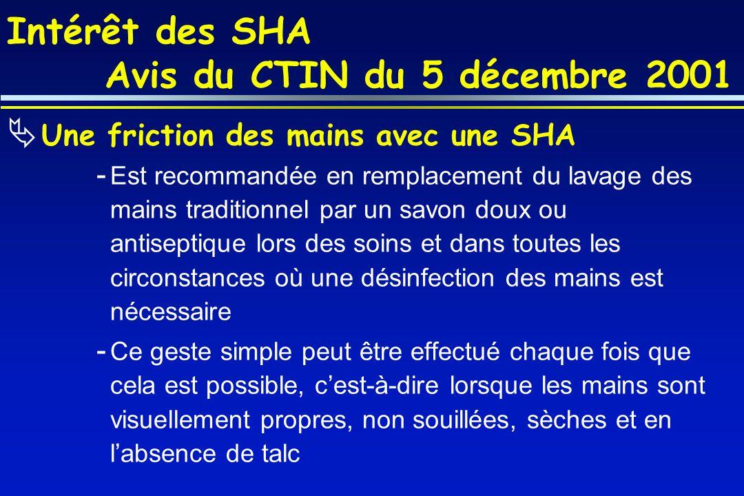 Intérêt des SHA Avis du CTIN du 5 décembre 2001 Une friction des mains avec une SHA - Est recommandée en remplacement du lavage des mains traditionnel