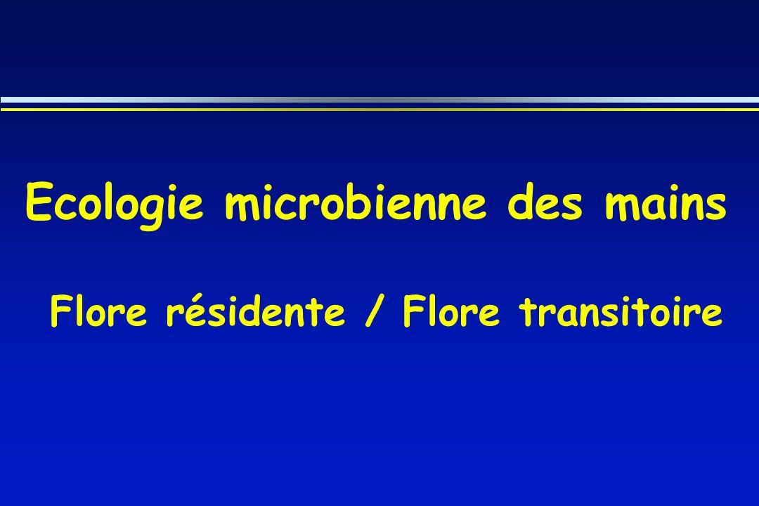 La flore résidente micro-organismes implantés de façon permanente sur la peau non éliminée par le lavage simple dominée par les bactéries à Gram + : - Staphylocoques à coagulase négative - Corynébactéries - Propionibactéries