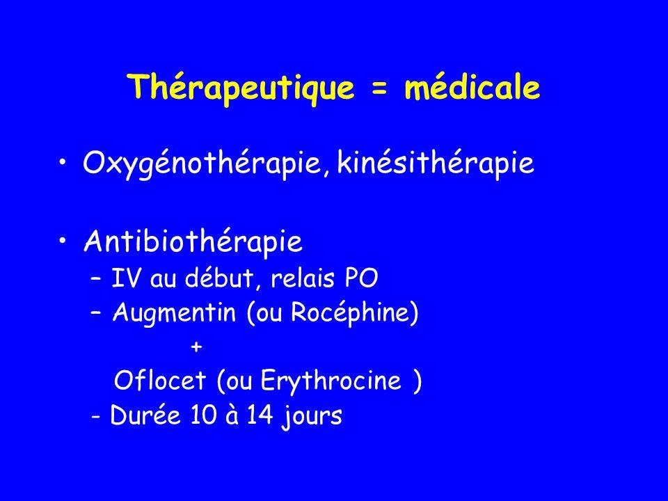 Thérapeutique = médicale Oxygénothérapie, kinésithérapie Antibiothérapie –IV au début, relais PO –Augmentin (ou Rocéphine) + Oflocet (ou Erythrocine )