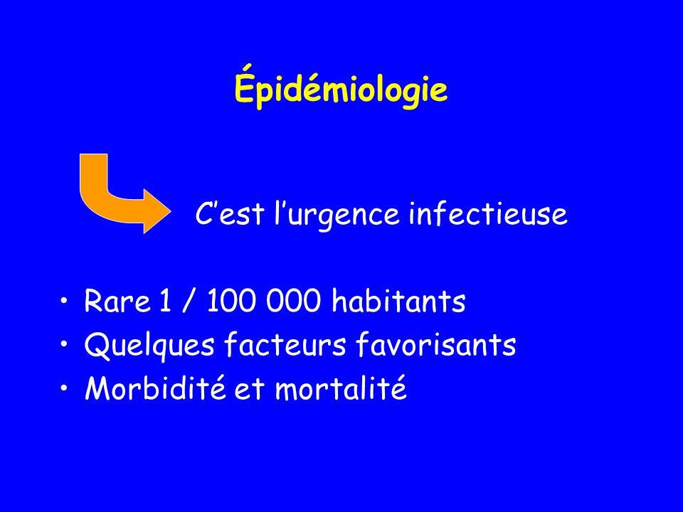 Épidémiologie Cest lurgence infectieuse Rare 1 / 100 000 habitants Quelques facteurs favorisants Morbidité et mortalité