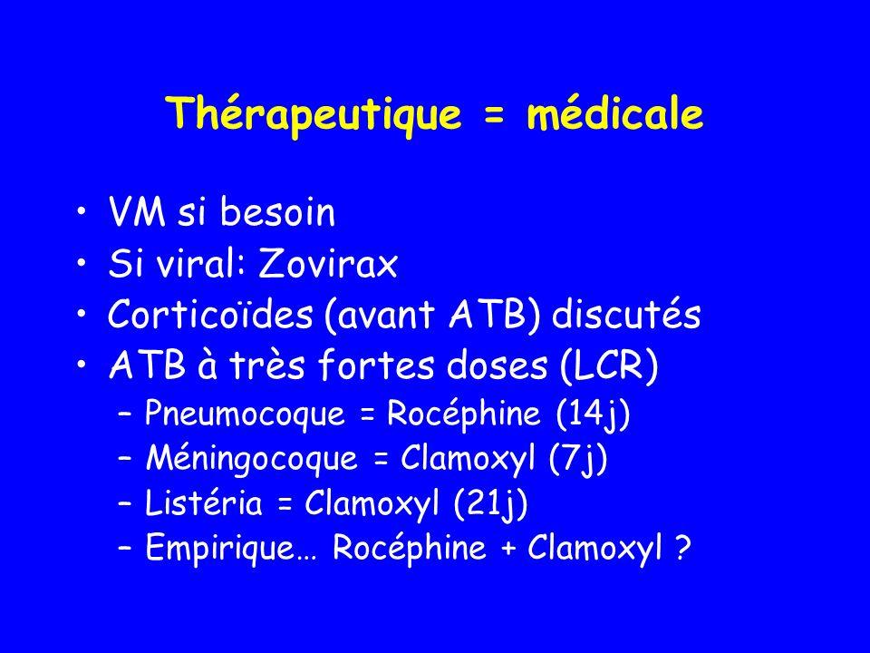 Thérapeutique = médicale VM si besoin Si viral: Zovirax Corticoïdes (avant ATB) discutés ATB à très fortes doses (LCR) –Pneumocoque = Rocéphine (14j)