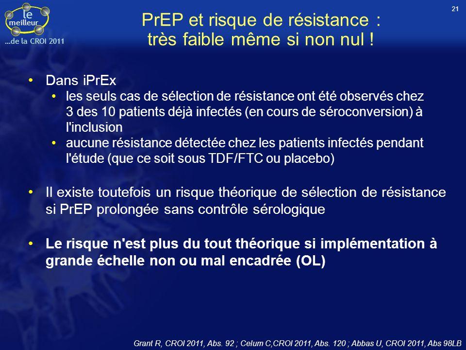 le meilleur …de la CROI 2011 PrEP et risque de résistance : très faible même si non nul ! Dans iPrEx les seuls cas de sélection de résistance ont été