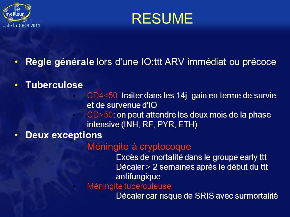 le meilleur …de la CROI 2011 RESUME Règle générale lors d'une IO:ttt ARV immédiat ou précoce Tuberculose CD4<50: traiter dans les 14j: gain en terme d