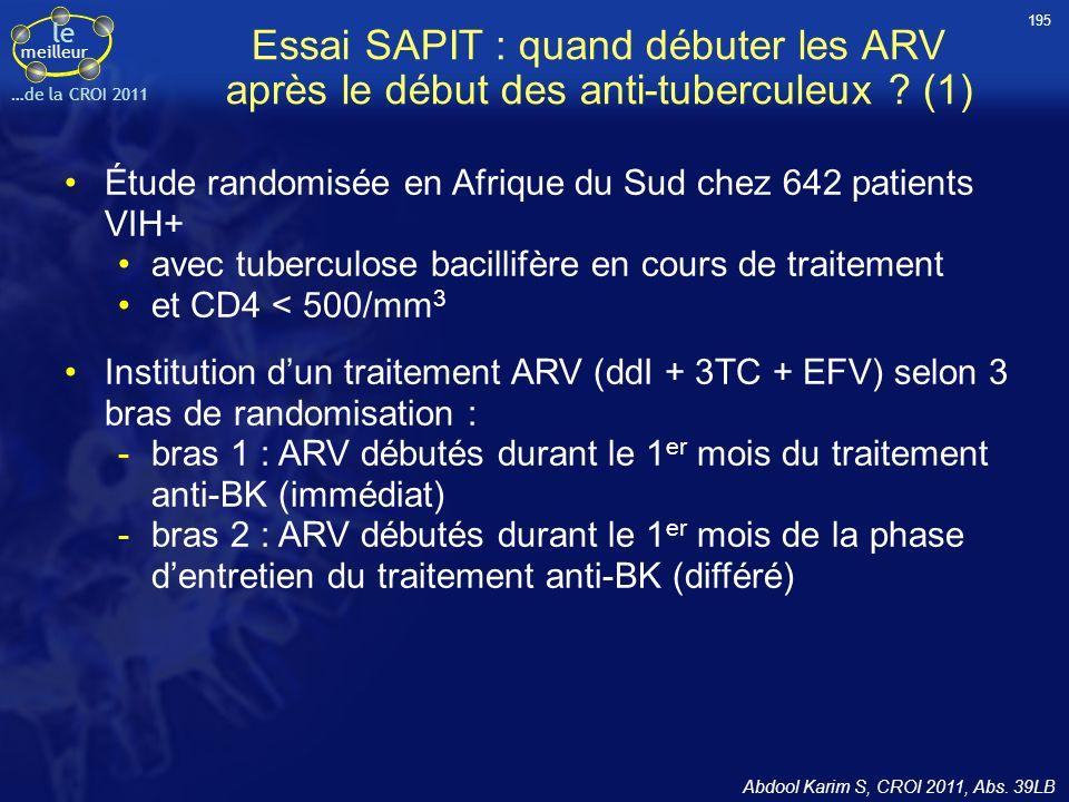 le meilleur …de la CROI 2011 Essai SAPIT : quand débuter les ARV après le début des anti-tuberculeux ? (1) Étude randomisée en Afrique du Sud chez 642