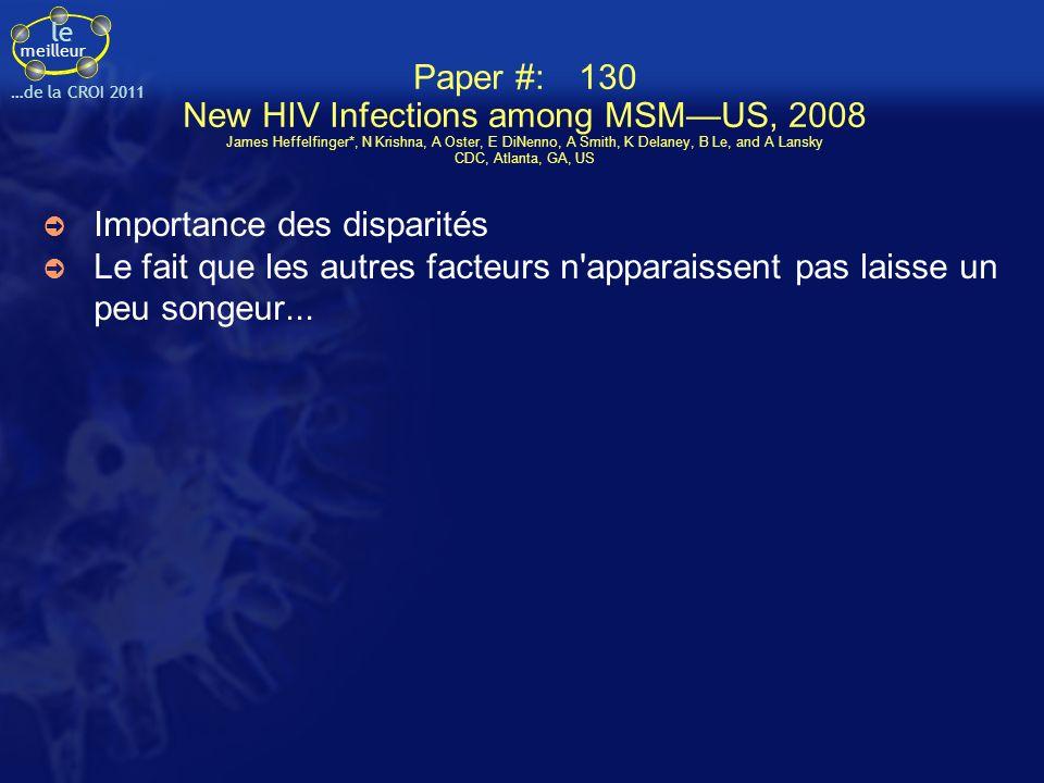 le meilleur …de la CROI 2011 Paper # 112 Molecular Epidemiology of Incident HCV Infection in HIV-infected MSM in the US vs Infections in Europe and Australia Daniel Fierer*1, Y Khudyakov2, B Hare3, K Marks4, K-M Chang5, A Branch1, W van Seggelen1, M Danta6, T van de Laar7, S Holmberg2, and NEAT 1Mt Sinai Sch of Med, New York, NY, US; 2CDC, Atlanta, GA, US; 3Univ of California, San Francisco Sch of Med, US; 4Weill Cornell Med Coll, New York, NY, US; 5Univ of Pennsylvania Sch of Med, Philadelphia, US; 6Univ of New South Wales, Sydney, Australia; and 7VU Univ Med Ctr, Amsterdam, The Netherlands Epidémie d HCV de novo, non liée à émergence d un clone de VHC plus virulent mais par l augmentation des rapports à risque Re-tester tous les patients MSM pour le HCV de façon régulière; message de prévention.