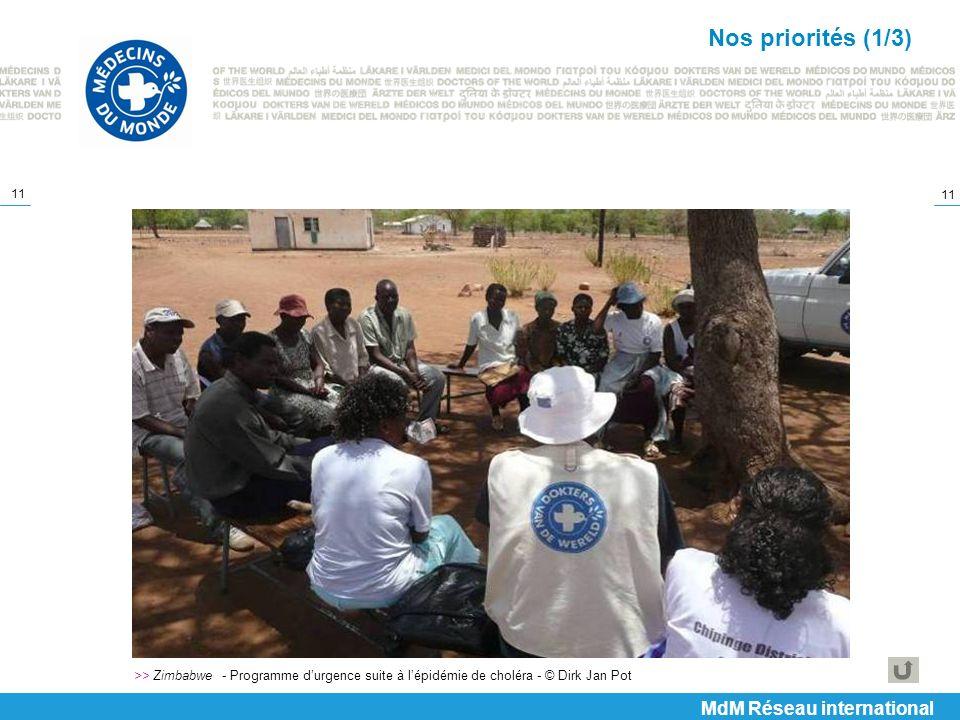 11 >> Zimbabwe - Programme durgence suite à lépidémie de choléra - © Dirk Jan Pot Nos priorités (1/3) MdM Réseau international