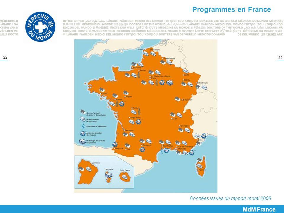 22 MdM France Programmes en France Données issues du rapport moral 2008