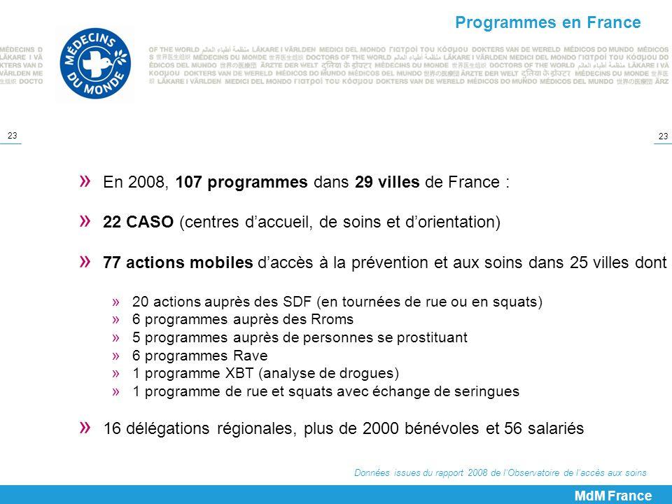 23 Données issues du rapport 2008 de lObservatoire de laccès aux soins MdM France » En 2008, 107 programmes dans 29 villes de France : » 22 CASO (cent