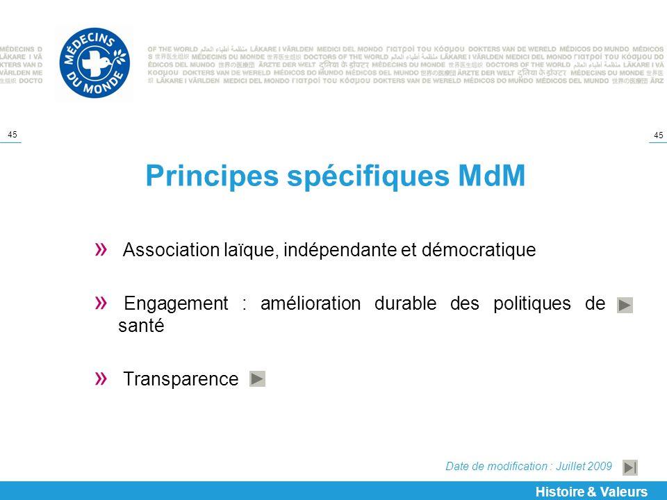 45 Principes spécifiques MdM » Association laïque, indépendante et démocratique » Engagement : amélioration durable des politiques de santé » Transpar