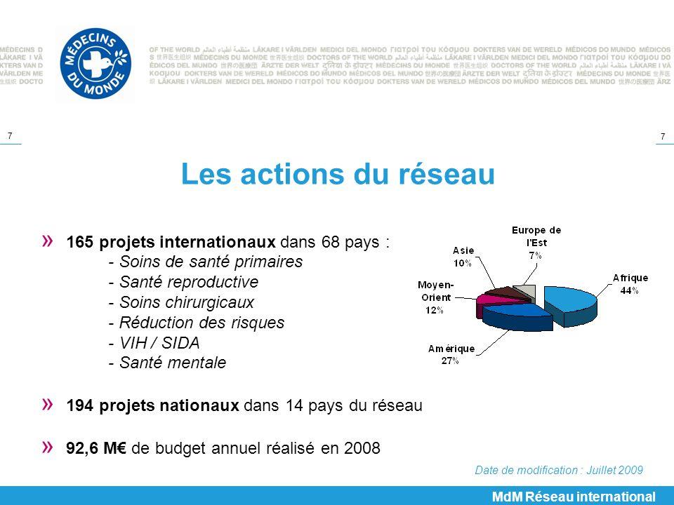 7 7 Les actions du réseau » 165 projets internationaux dans 68 pays : - Soins de santé primaires - Santé reproductive - Soins chirurgicaux - Réduction