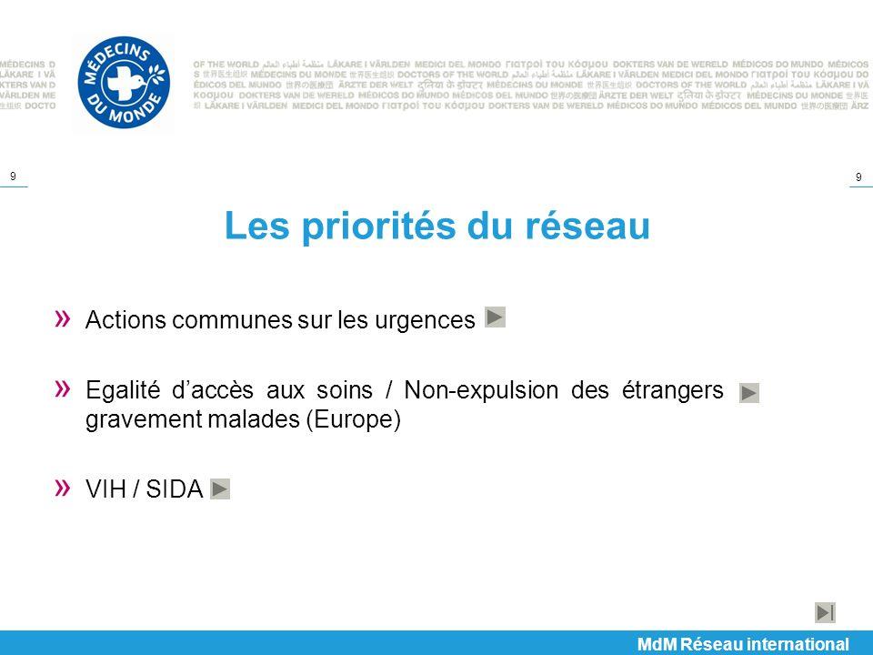 9 9 Les priorités du réseau » Actions communes sur les urgences » Egalité daccès aux soins / Non-expulsion des étrangers gravement malades (Europe) »