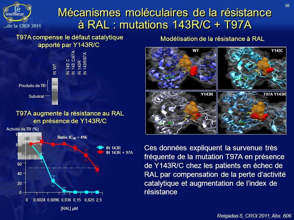 le meilleur …de la CROI 2011 Mécanismes moléculaires de la résistance à RAL : mutations 143R/C + T97A Reigadas S, CROI 2011, Abs.