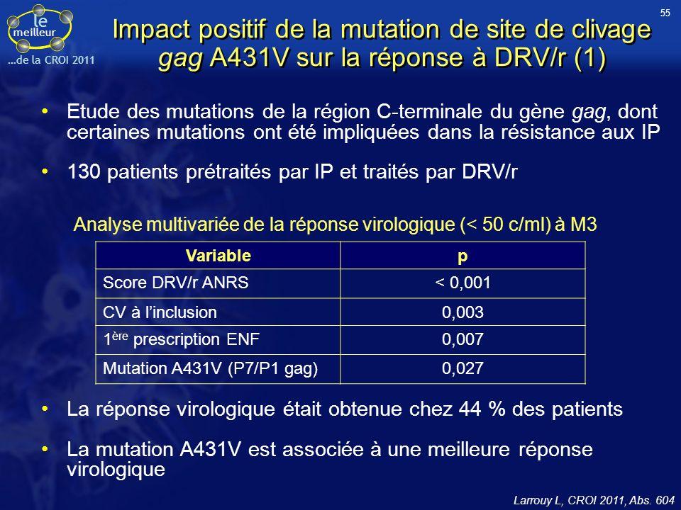 le meilleur …de la CROI 2011 Impact positif de la mutation de site de clivage gag A431V sur la réponse à DRV/r (1) Etude des mutations de la région C-terminale du gène gag, dont certaines mutations ont été impliquées dans la résistance aux IP 130 patients prétraités par IP et traités par DRV/r Larrouy L, CROI 2011, Abs.
