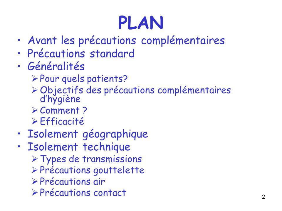 2 PLAN Avant les précautions complémentaires Précautions standard Généralités Pour quels patients? Objectifs des précautions complémentaires dhygiène