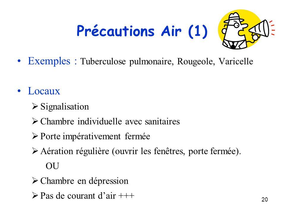 20 Précautions Air (1) Exemples : Tuberculose pulmonaire, Rougeole, Varicelle Locaux Signalisation Chambre individuelle avec sanitaires Porte impérati