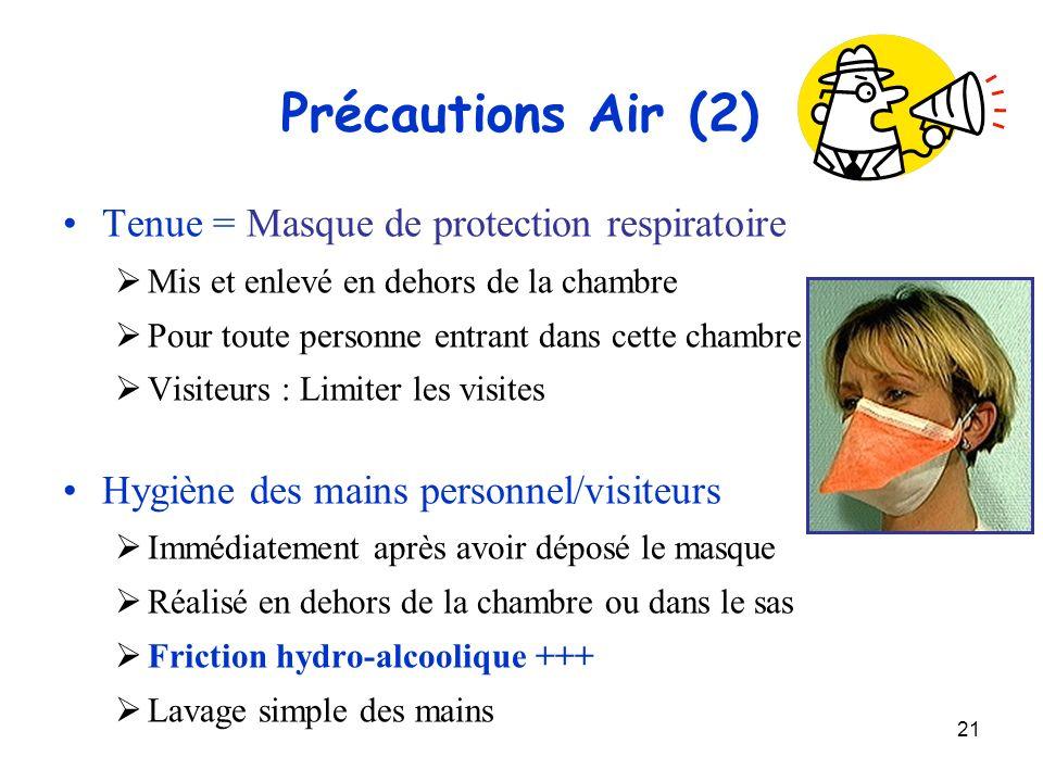 21 Précautions Air (2) Tenue = Masque de protection respiratoire Mis et enlevé en dehors de la chambre Pour toute personne entrant dans cette chambre