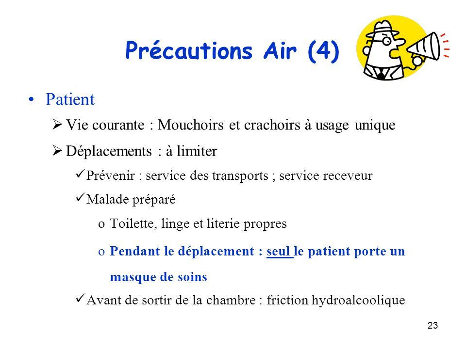 23 Précautions Air (4) Patient Vie courante : Mouchoirs et crachoirs à usage unique Déplacements : à limiter Prévenir : service des transports ; servi