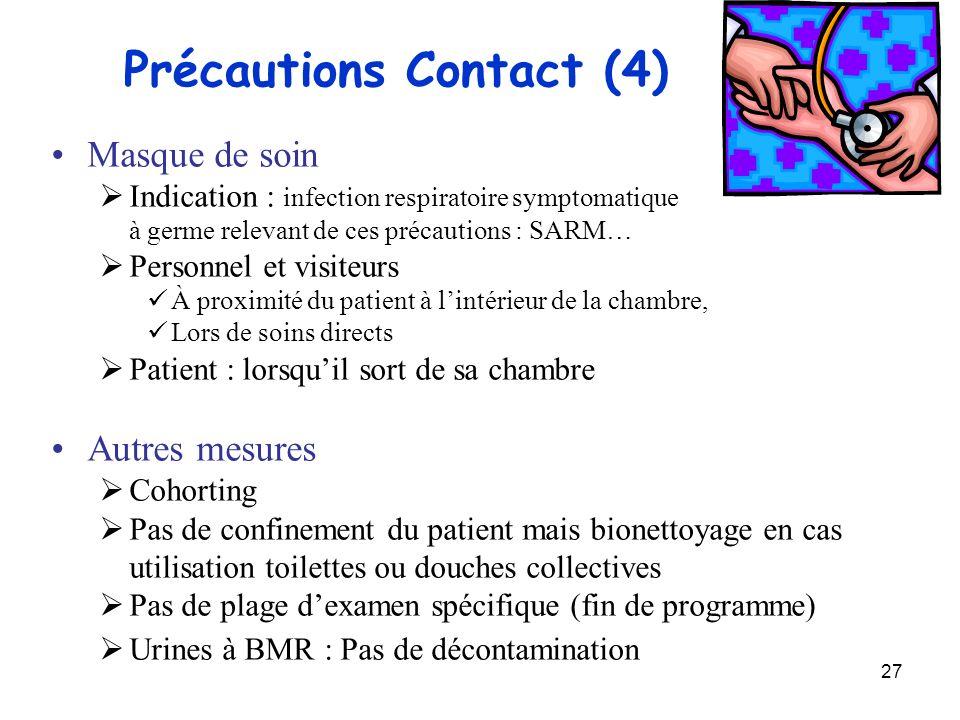 27 Précautions Contact (4) Masque de soin Indication : infection respiratoire symptomatique à germe relevant de ces précautions : SARM… Personnel et v