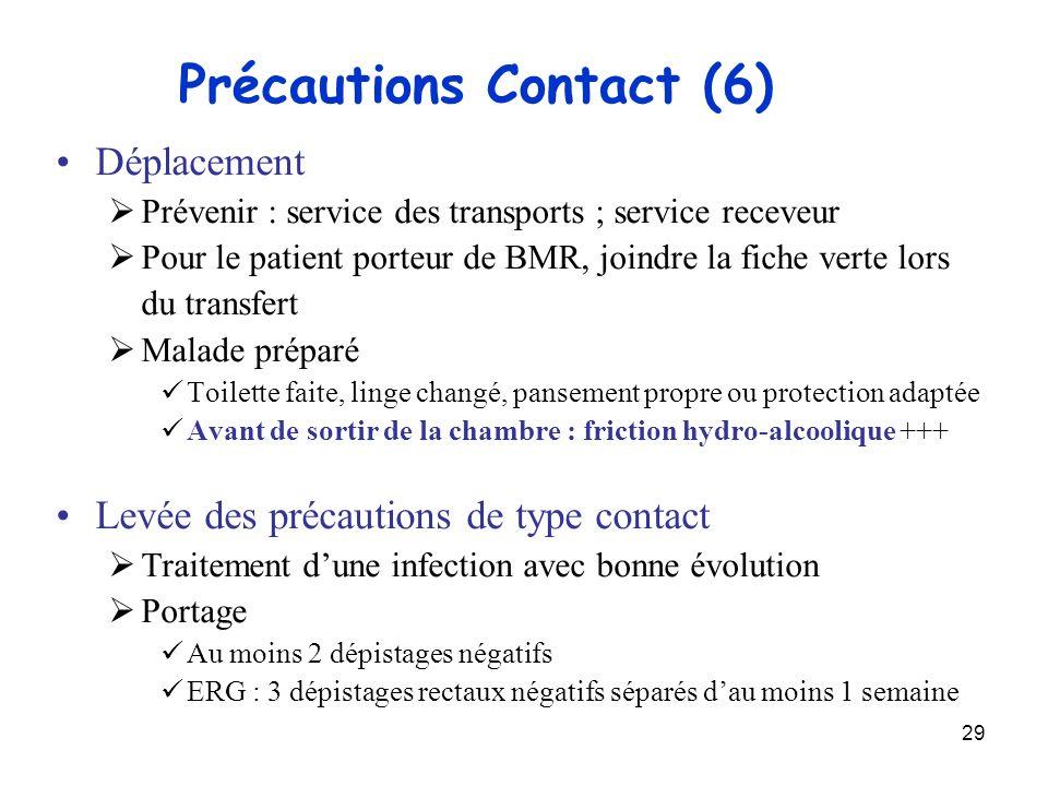 29 Précautions Contact (6) Déplacement Prévenir : service des transports ; service receveur Pour le patient porteur de BMR, joindre la fiche verte lor