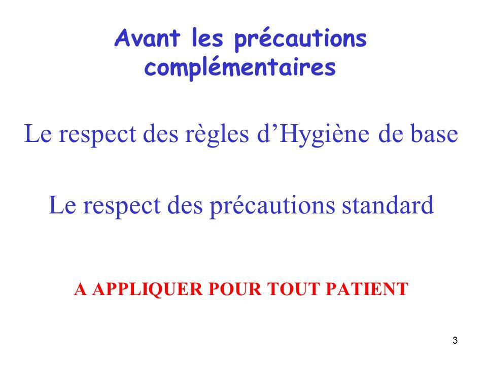 3 Le respect des règles dHygiène de base Le respect des précautions standard A APPLIQUER POUR TOUT PATIENT Avant les précautions complémentaires