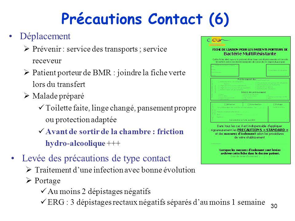 30 Précautions Contact (6) Déplacement Prévenir : service des transports ; service receveur Patient porteur de BMR : joindre la fiche verte lors du tr