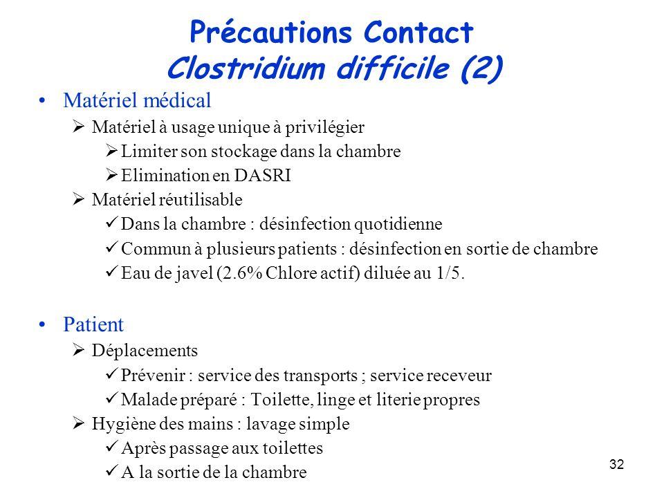 32 Précautions Contact Clostridium difficile (2) Matériel médical Matériel à usage unique à privilégier Limiter son stockage dans la chambre Eliminati