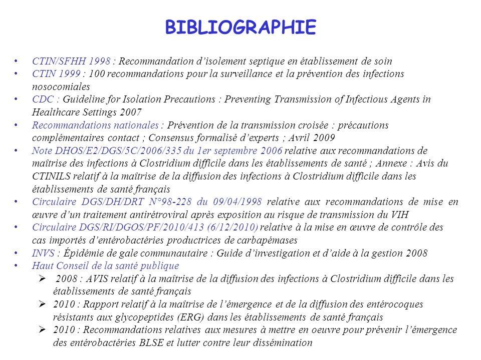 34 BIBLIOGRAPHIE CTIN/SFHH 1998 : Recommandation disolement septique en établissement de soin CTIN 1999 : 100 recommandations pour la surveillance et
