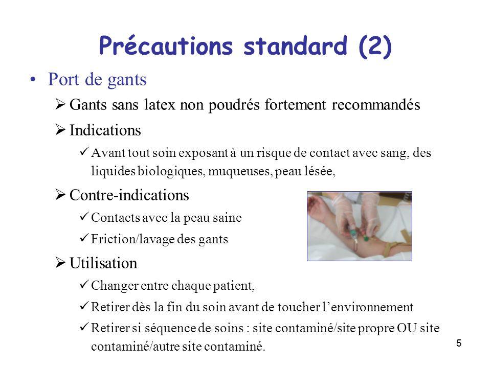 5 Précautions standard (2) Port de gants Gants sans latex non poudrés fortement recommandés Indications Avant tout soin exposant à un risque de contac