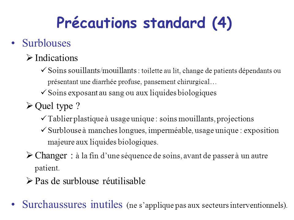 7 Précautions standard (4) Surblouses Indications Soins souillants/mouillants : toilette au lit, change de patients dépendants ou présentant une diarr