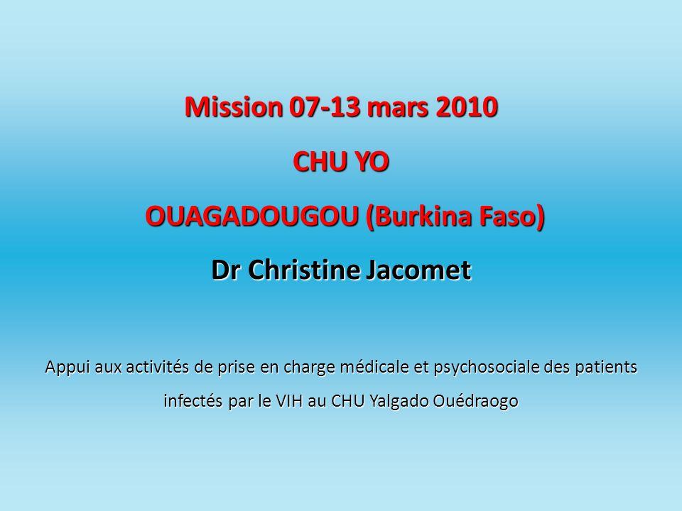 Mission 07-13 mars 2010 CHU YO OUAGADOUGOU (Burkina Faso) Dr Christine Jacomet Appui aux activités de prise en charge médicale et psychosociale des pa