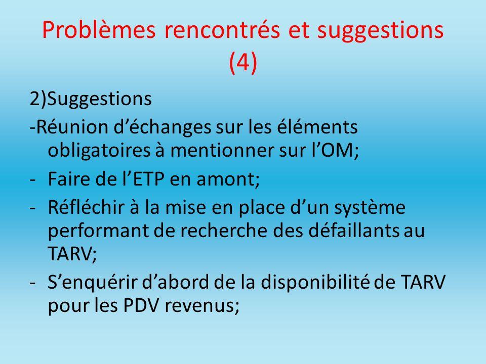 Problèmes rencontrés et suggestions (4) 2)Suggestions -Réunion déchanges sur les éléments obligatoires à mentionner sur lOM; -Faire de lETP en amont;