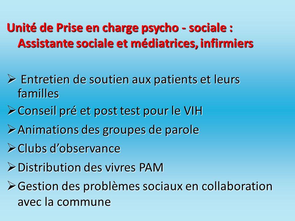 Unité de Prise en charge psycho - sociale : Assistante sociale et médiatrices, infirmiers Entretien de soutien aux patients et leurs familles Entretie