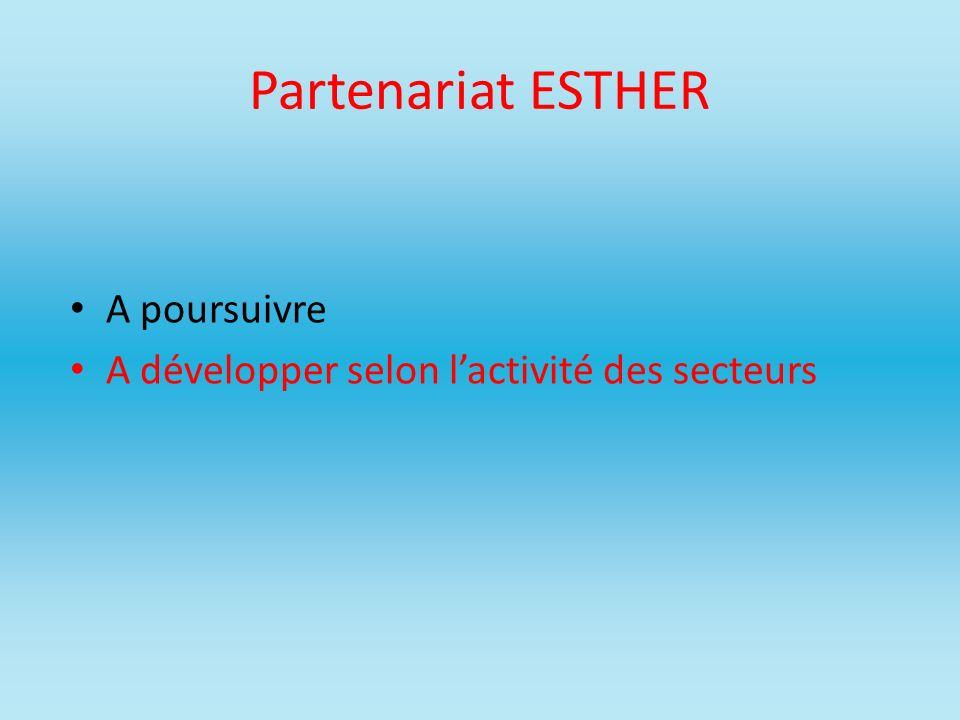 Partenariat ESTHER A poursuivre A développer selon lactivité des secteurs