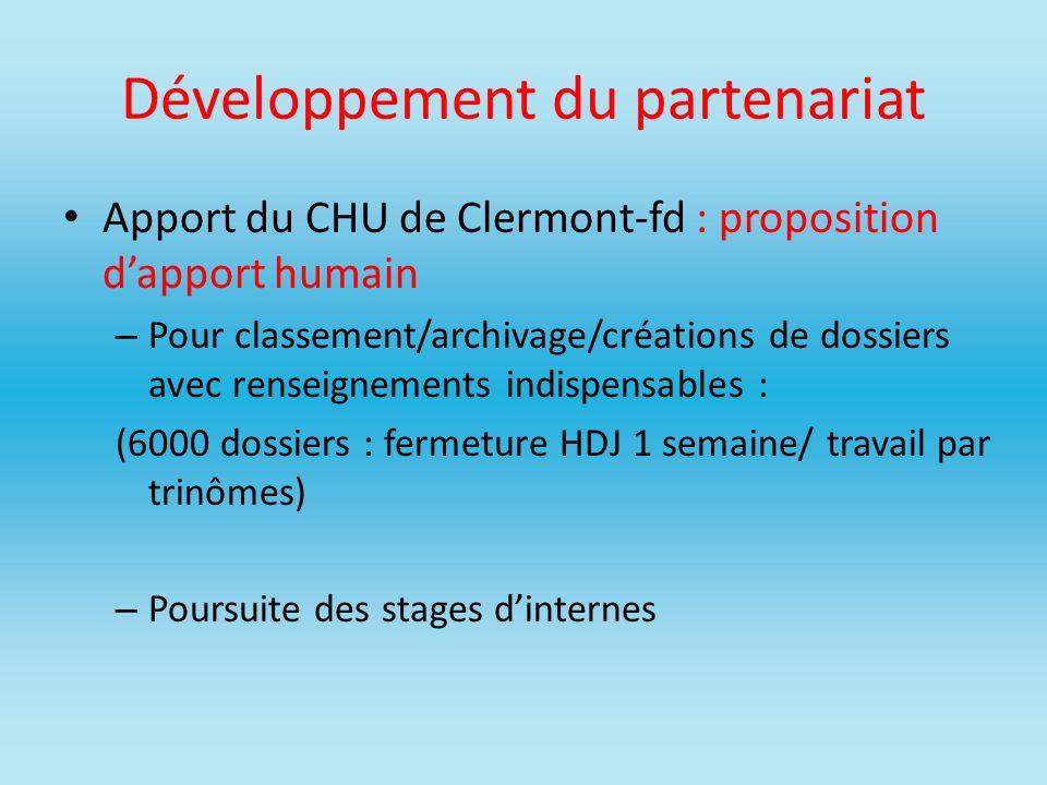 Développement du partenariat Apport du CHU de Clermont-fd : proposition dapport humain – Pour classement/archivage/créations de dossiers avec renseign