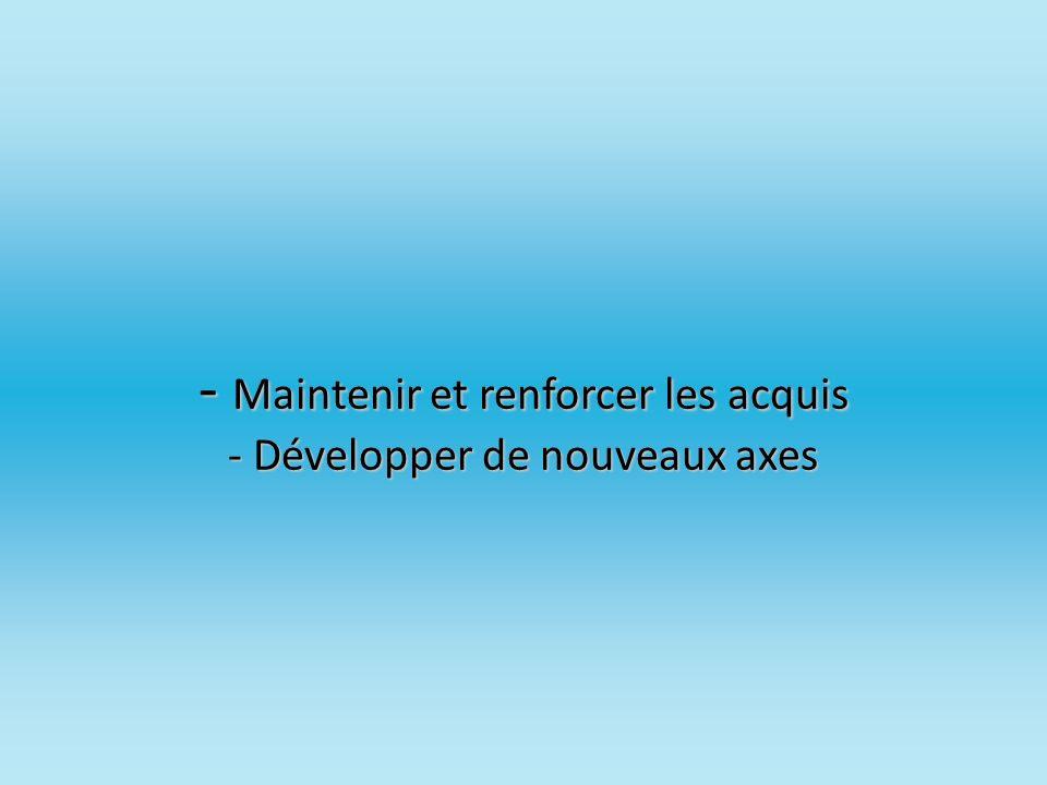 - Maintenir et renforcer les acquis - Développer de nouveaux axes - Maintenir et renforcer les acquis - Développer de nouveaux axes