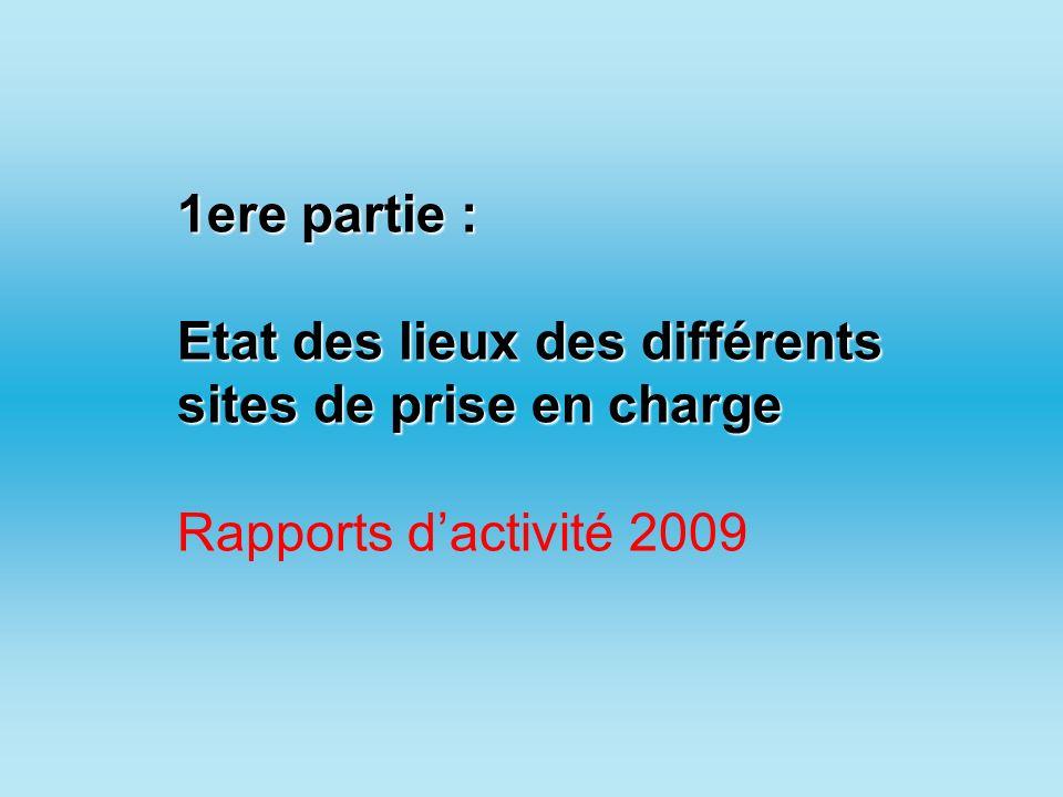 1ere partie : Etat des lieux des différents sites de prise en charge Rapports dactivité 2009