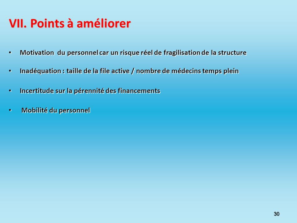 30 VII. Points à améliorer Motivation du personnel car un risque réel de fragilisation de la structure Motivation du personnel car un risque réel de f